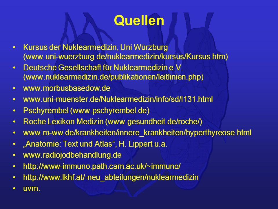 Quellen Kursus der Nuklearmedizin, Uni Würzburg (www.uni-wuerzburg.de/nuklearmedizin/kursus/Kursus.htm)