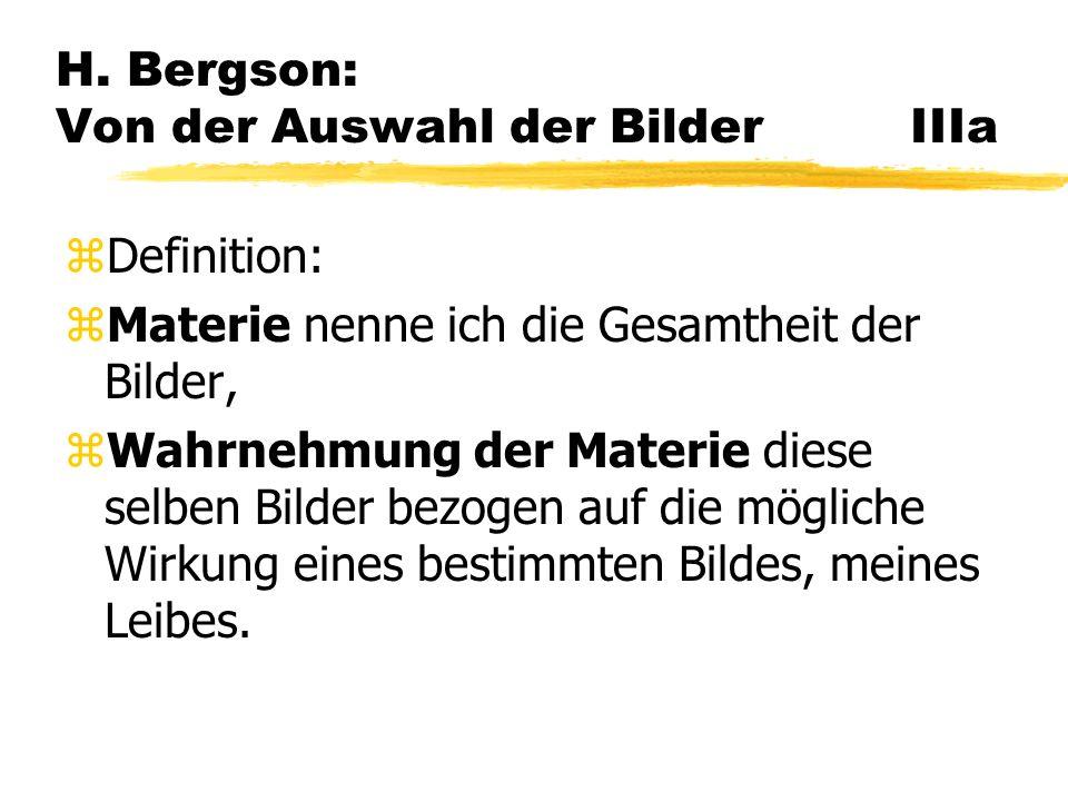 H. Bergson: Von der Auswahl der Bilder IIIa