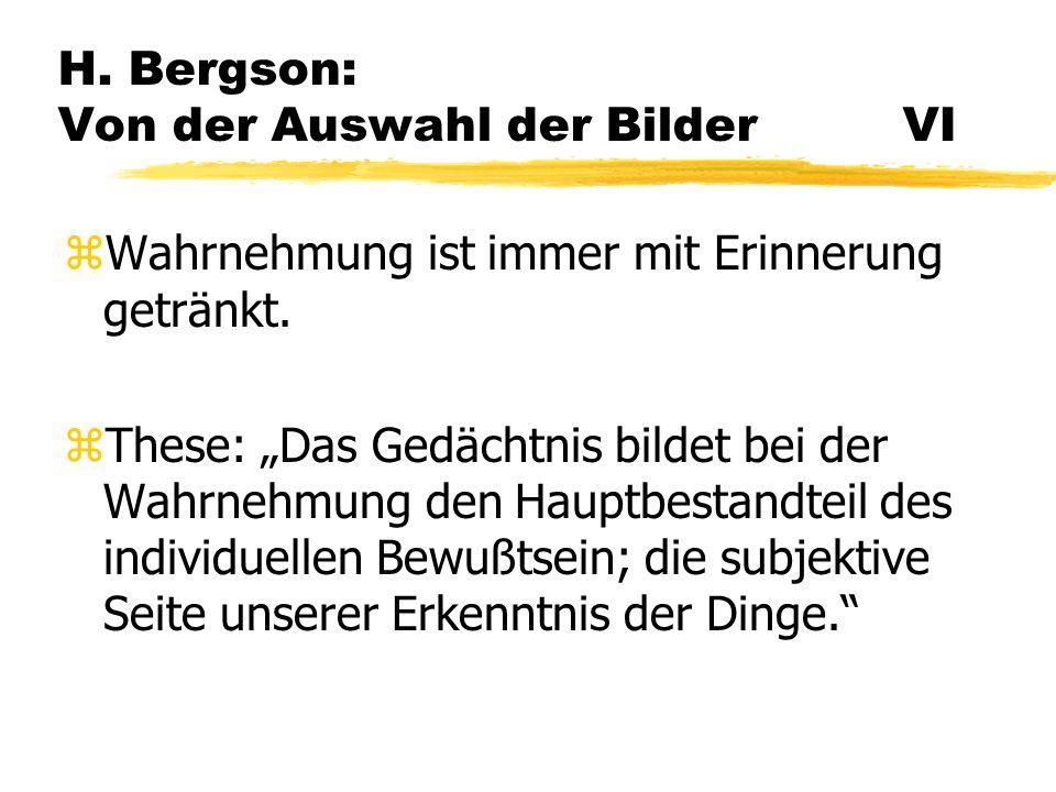 H. Bergson: Von der Auswahl der Bilder VI