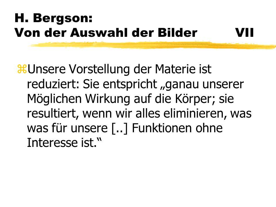 H. Bergson: Von der Auswahl der Bilder VII