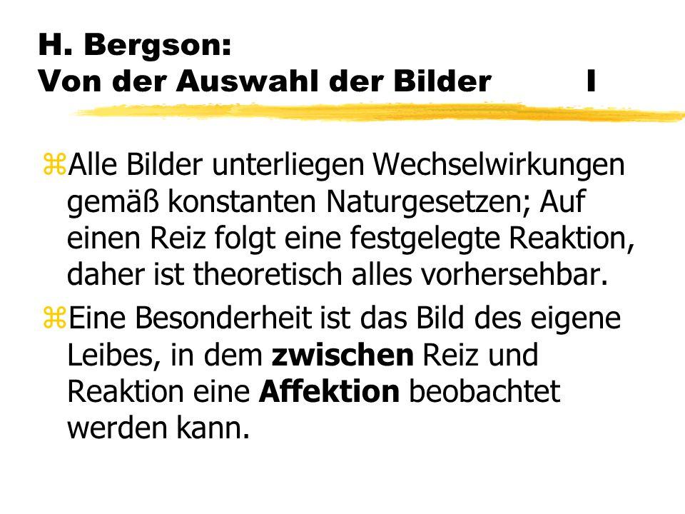 H. Bergson: Von der Auswahl der Bilder I
