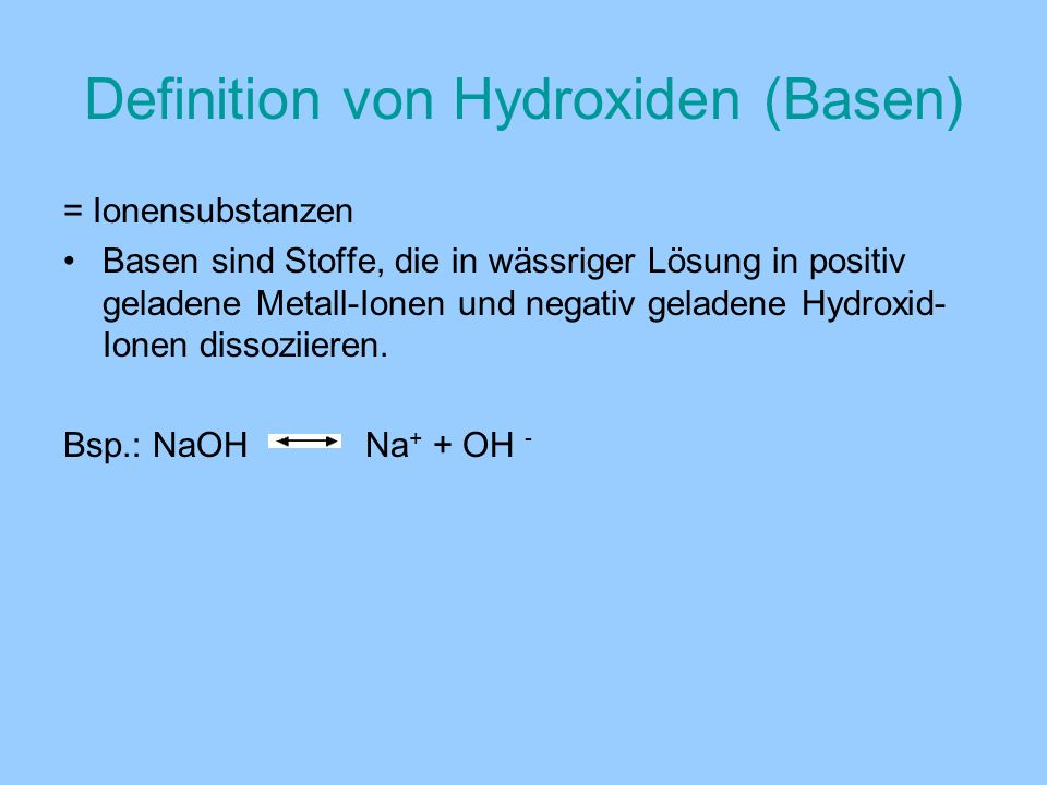 Definition von Hydroxiden (Basen)