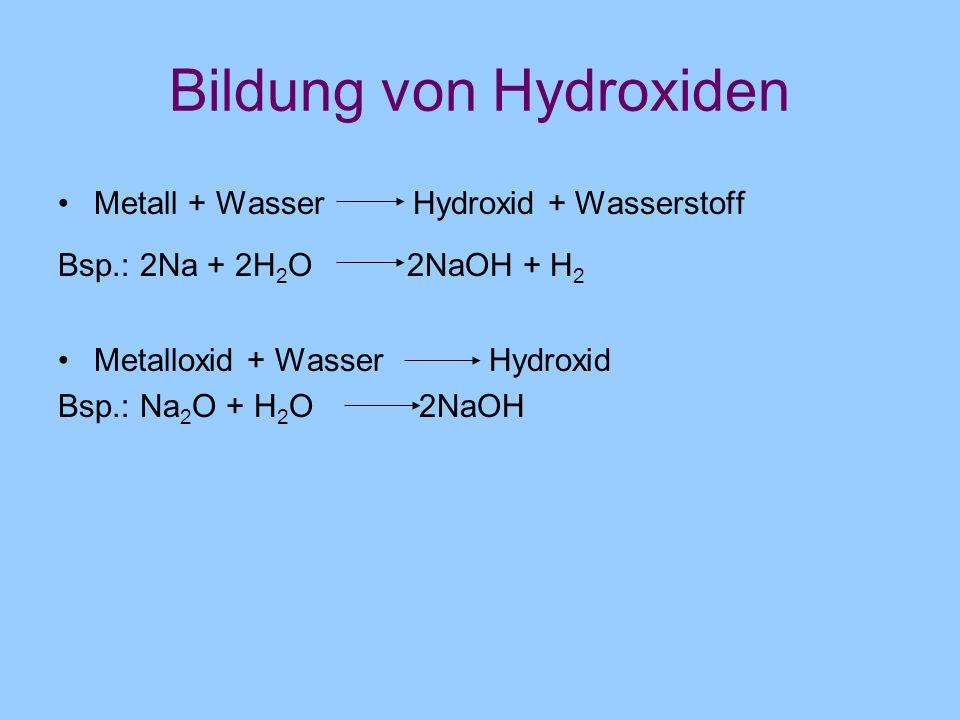 Bildung von Hydroxiden