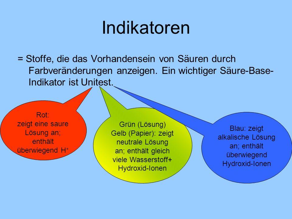 Indikatoren = Stoffe, die das Vorhandensein von Säuren durch Farbveränderungen anzeigen. Ein wichtiger Säure-Base-Indikator ist Unitest.