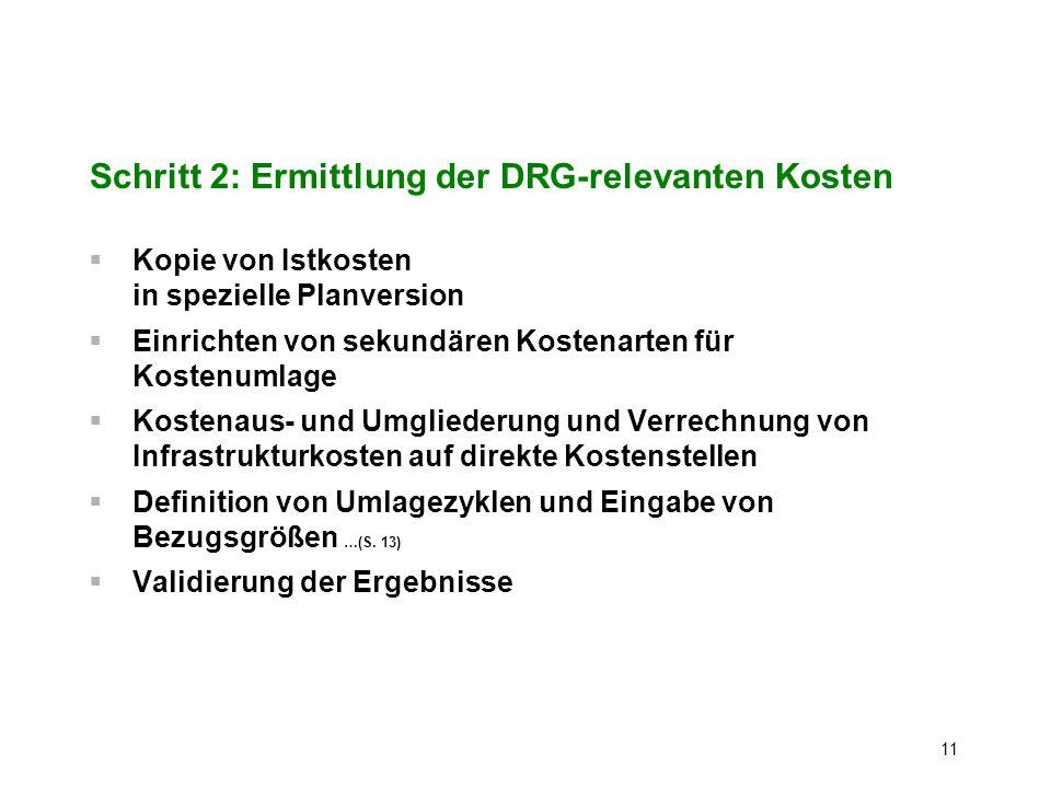 Schritt 2: Ermittlung der DRG-relevanten Kosten