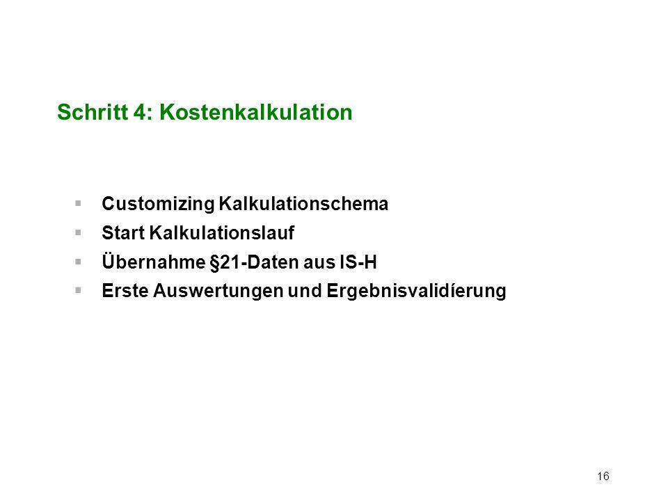 Schritt 4: Kostenkalkulation
