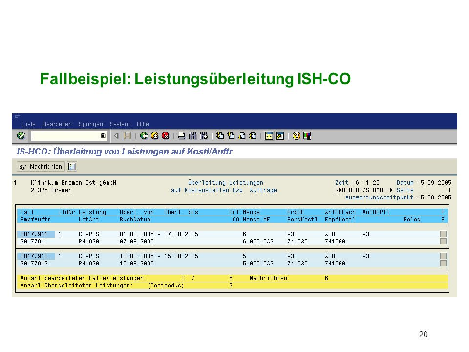 Fallbeispiel: Leistungsüberleitung ISH-CO