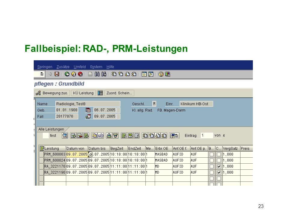 Fallbeispiel: RAD-, PRM-Leistungen