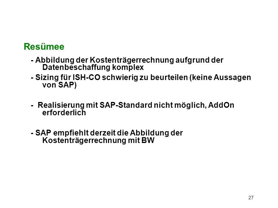 Resümee - Abbildung der Kostenträgerrechnung aufgrund der Datenbeschaffung komplex.