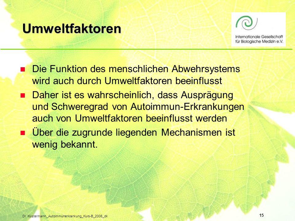 Umweltfaktoren Die Funktion des menschlichen Abwehrsystems wird auch durch Umweltfaktoren beeinflusst.