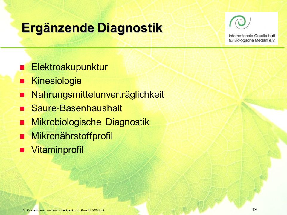 Ergänzende Diagnostik