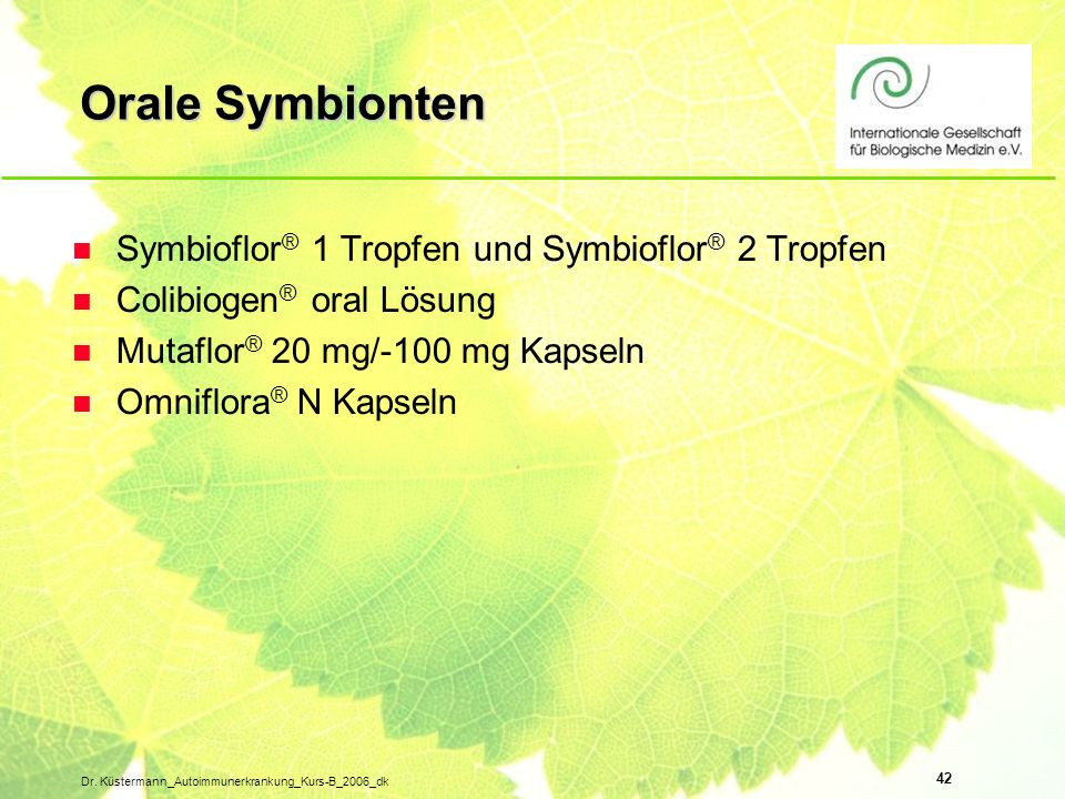 Orale Symbionten Symbioflor® 1 Tropfen und Symbioflor® 2 Tropfen