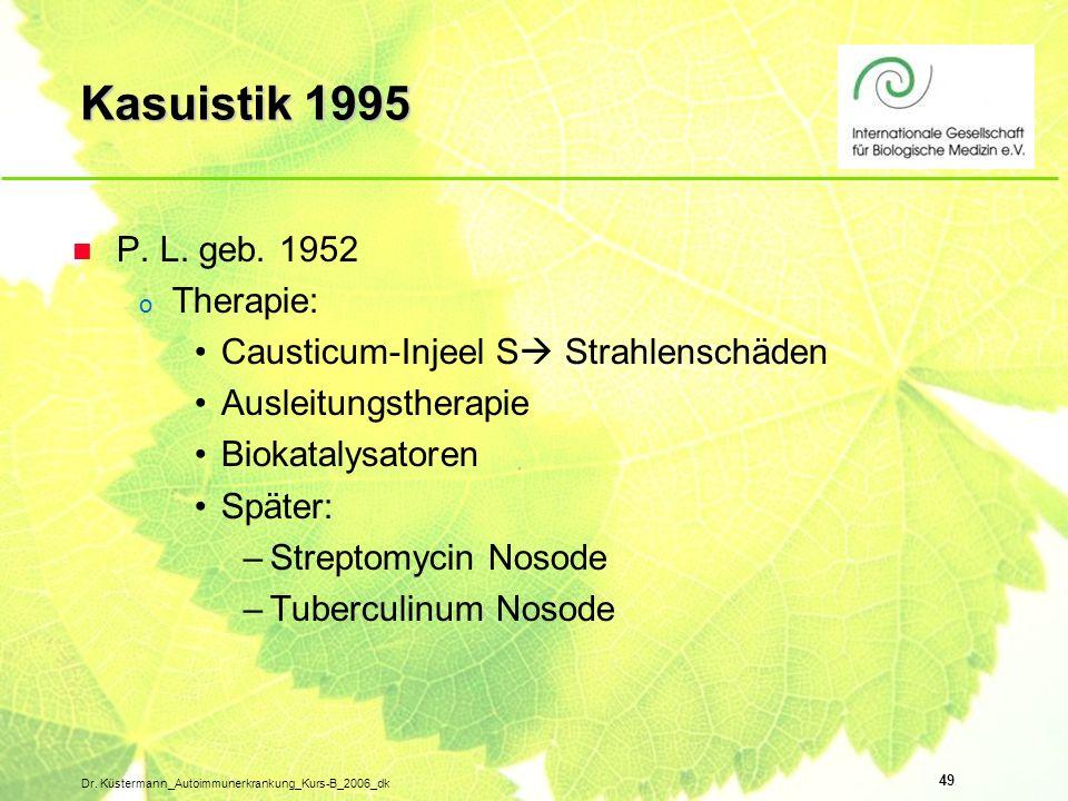 Kasuistik 1995 P. L. geb. 1952 Therapie: