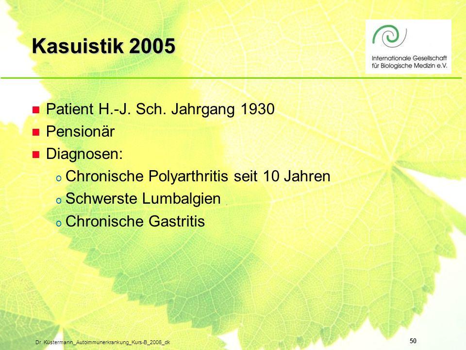 Kasuistik 2005 Patient H.-J. Sch. Jahrgang 1930 Pensionär Diagnosen: