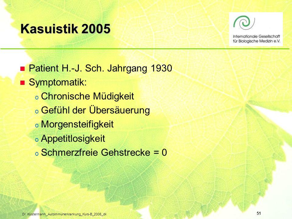 Kasuistik 2005 Patient H.-J. Sch. Jahrgang 1930 Symptomatik: