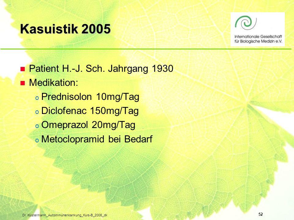 Kasuistik 2005 Patient H.-J. Sch. Jahrgang 1930 Medikation: