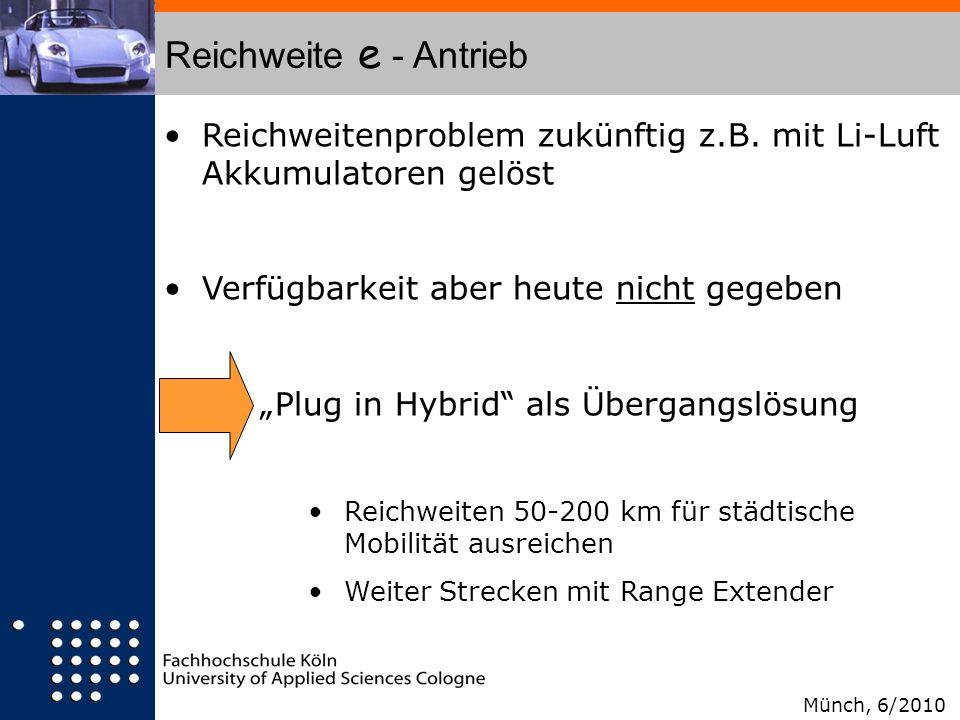 Reichweite e - AntriebReichweitenproblem zukünftig z.B. mit Li-Luft Akkumulatoren gelöst. Verfügbarkeit aber heute nicht gegeben.