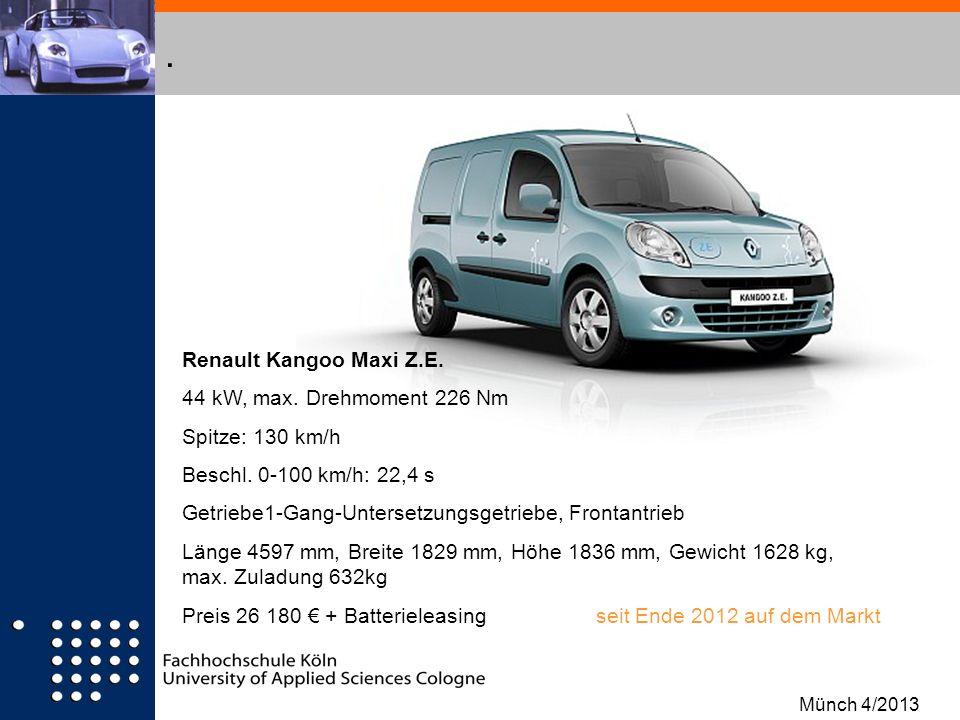 . Renault Kangoo Maxi Z.E. 44 kW, max. Drehmoment 226 Nm