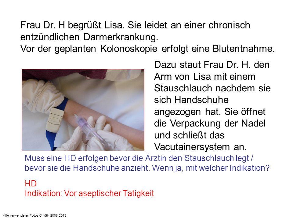 Vor der geplanten Kolonoskopie erfolgt eine Blutentnahme.