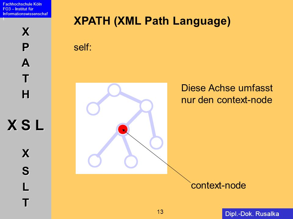 XPATH (XML Path Language) self: