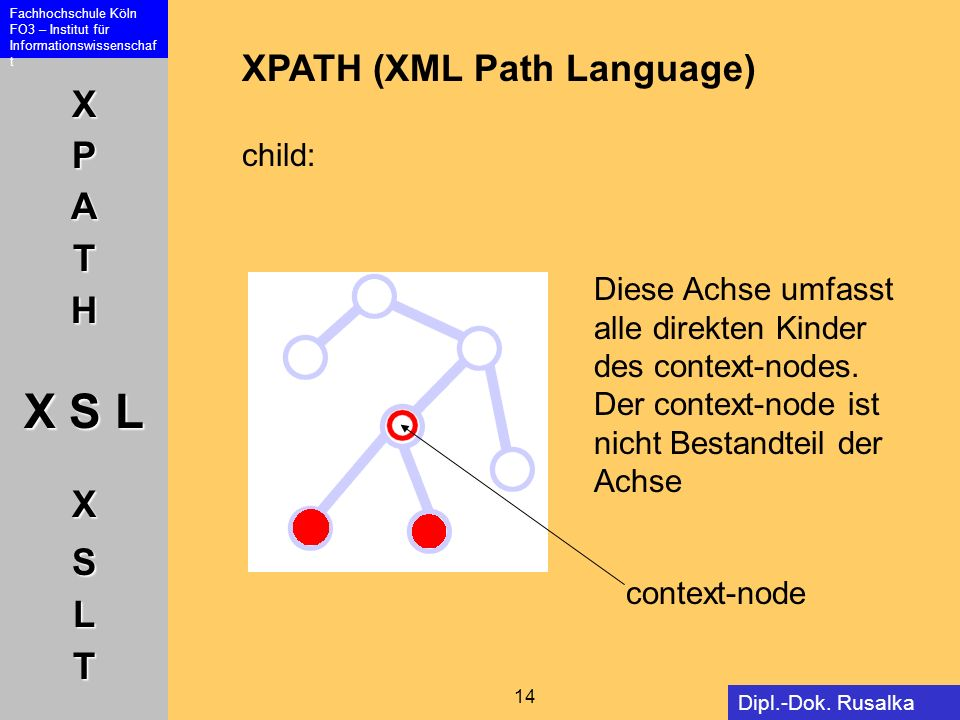XPATH (XML Path Language) child: