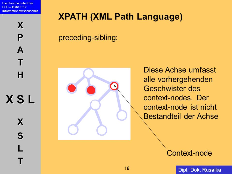 XPATH (XML Path Language) preceding-sibling: