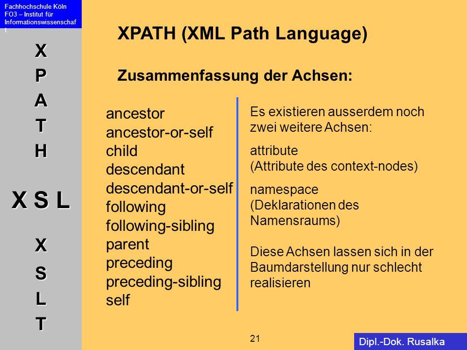XPATH (XML Path Language) Zusammenfassung der Achsen: