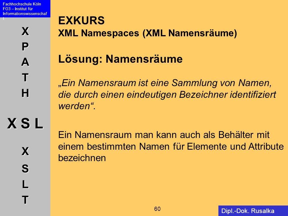 """EXKURS XML Namespaces (XML Namensräume) Lösung: Namensräume """"Ein Namensraum ist eine Sammlung von Namen, die durch einen eindeutigen Bezeichner identifiziert werden ."""