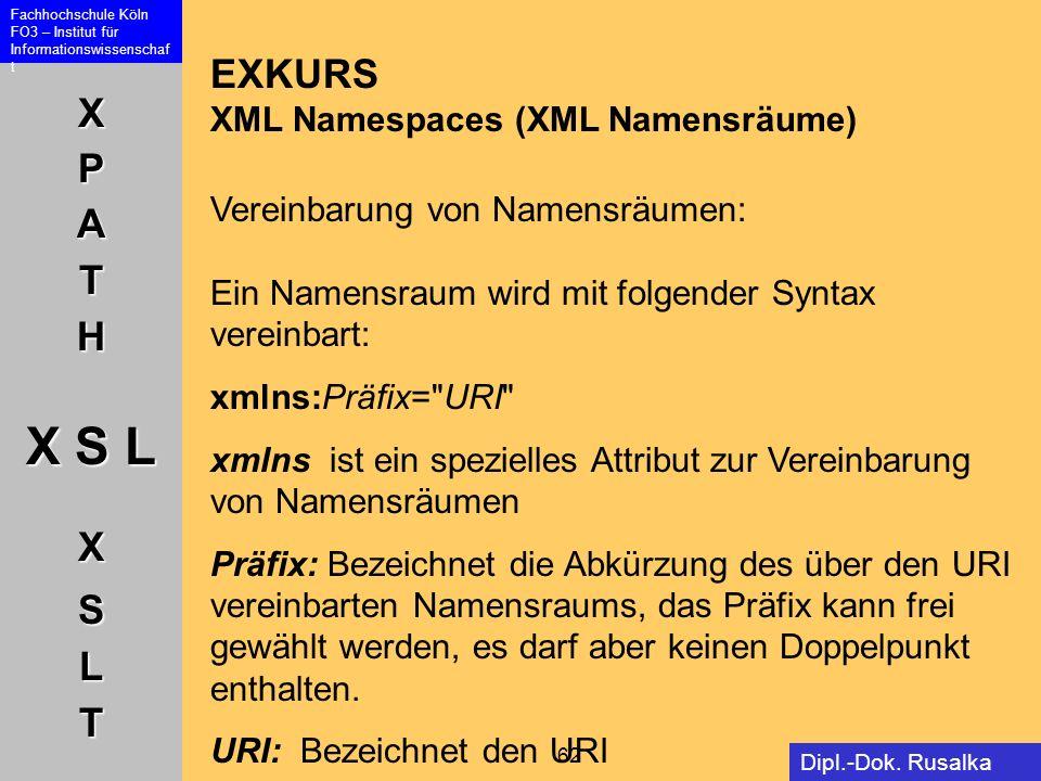 EXKURS XML Namespaces (XML Namensräume) Vereinbarung von Namensräumen: Ein Namensraum wird mit folgender Syntax vereinbart: