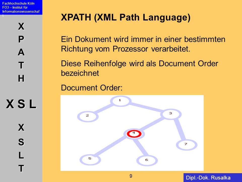 XPATH (XML Path Language) Ein Dokument wird immer in einer bestimmten Richtung vom Prozessor verarbeitet.