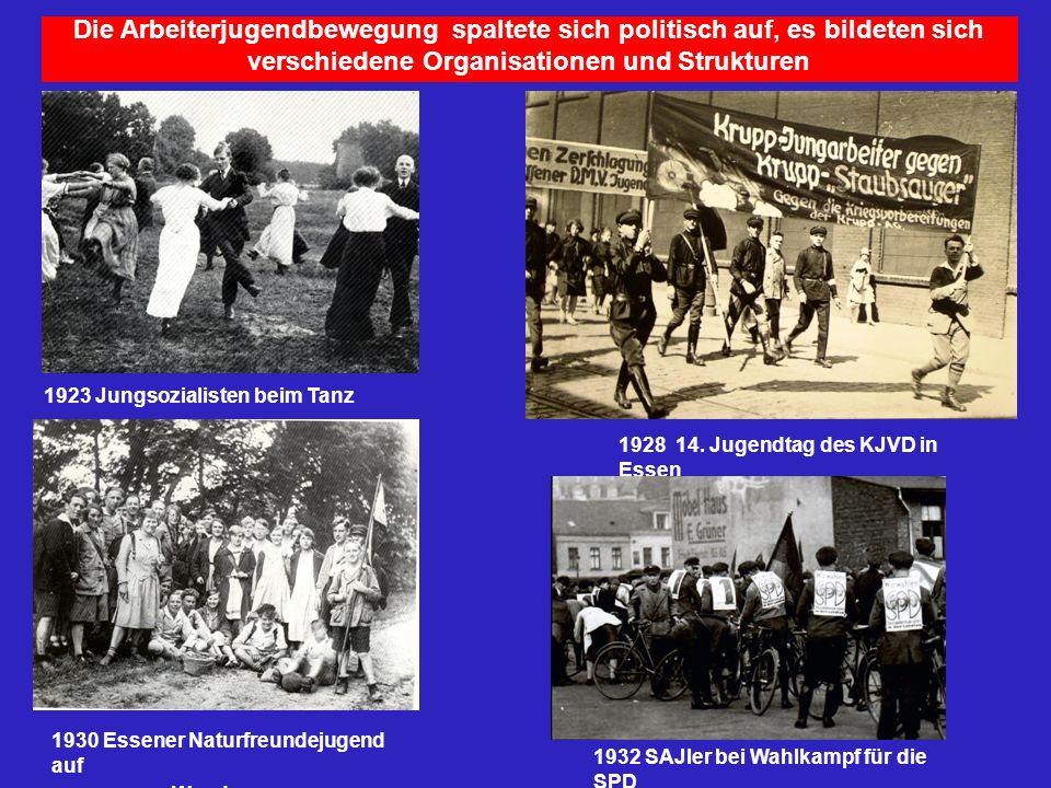 Die Arbeiterjugendbewegung spaltete sich politisch auf, es bildeten sich verschiedene Organisationen und Strukturen