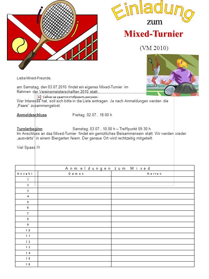 Einladung zum Mixed-Turnier (VM 2010)
