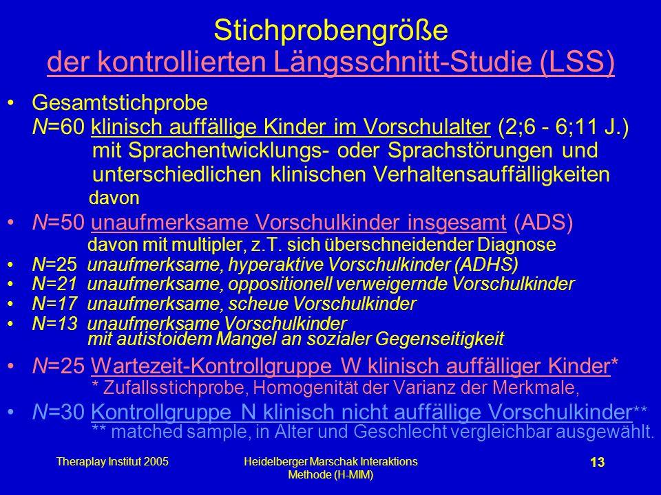 Stichprobengröße der kontrollierten Längsschnitt-Studie (LSS)