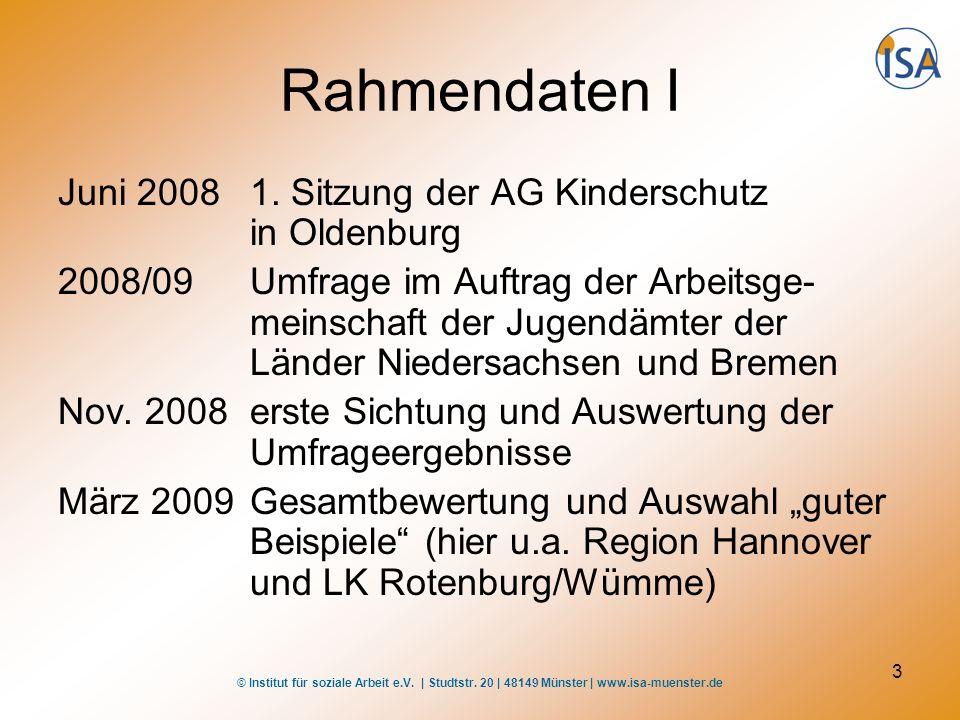 Rahmendaten I Juni 2008 1. Sitzung der AG Kinderschutz in Oldenburg