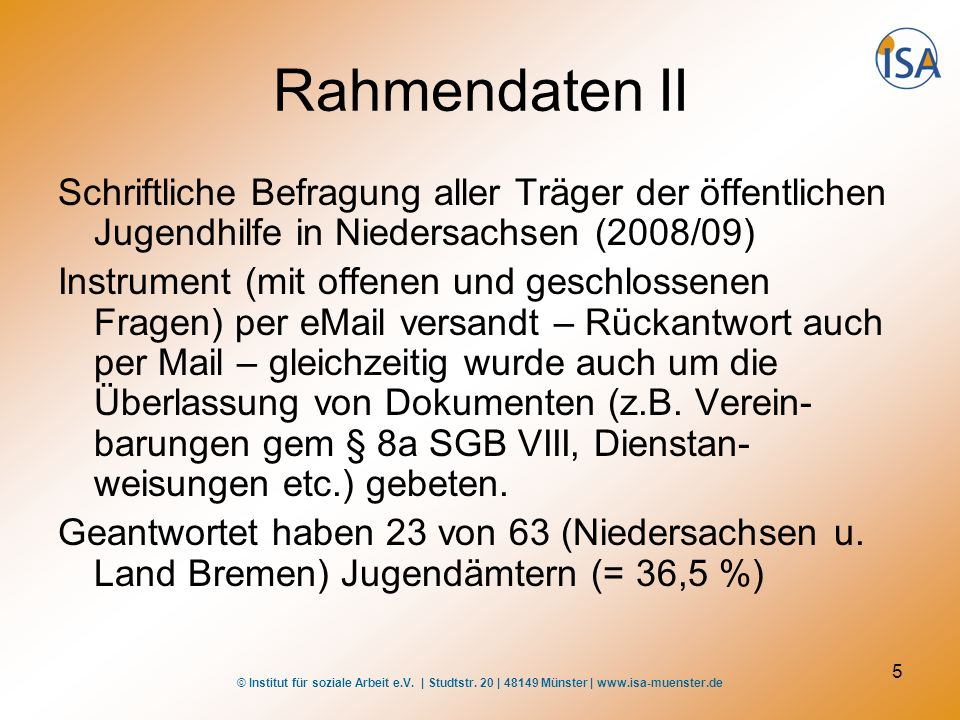 Rahmendaten II Schriftliche Befragung aller Träger der öffentlichen Jugendhilfe in Niedersachsen (2008/09)
