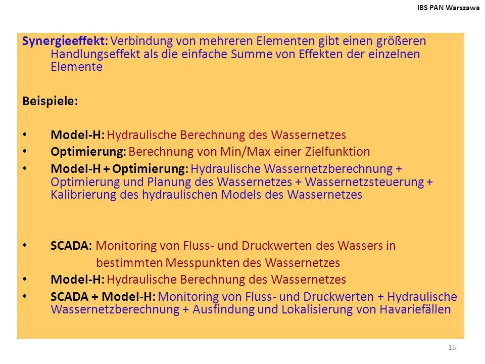 Model-H: Hydraulische Berechnung des Wassernetzes