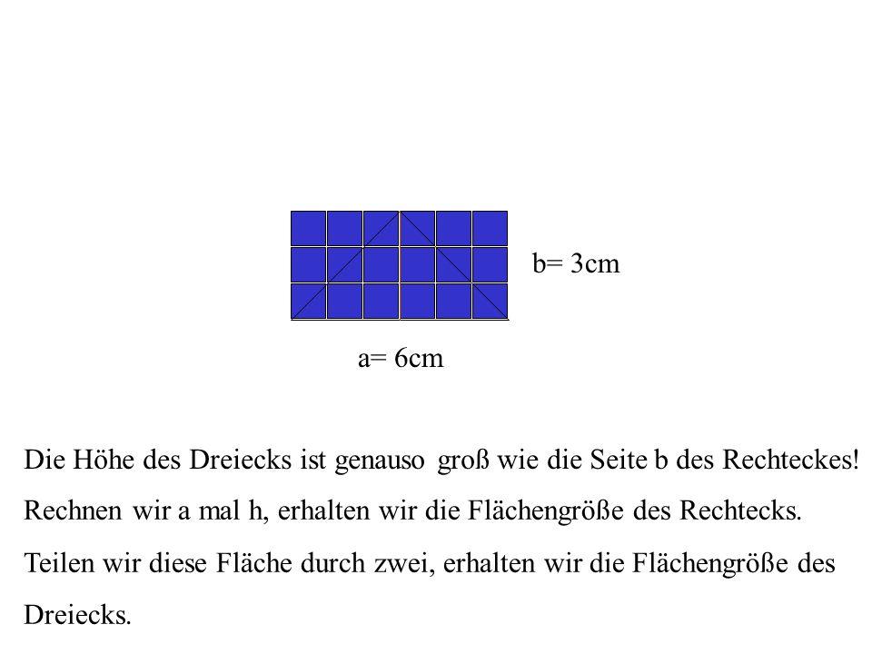 Die Höhe des Dreiecks ist genauso groß wie die Seite b des Rechteckes!