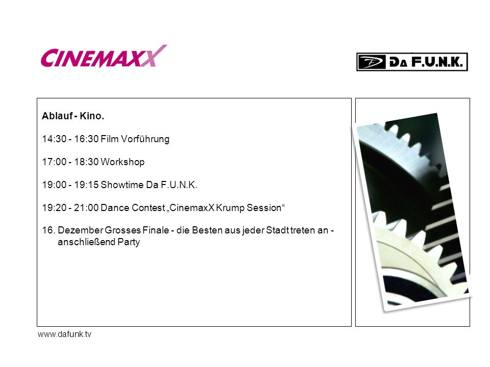 "19:20 - 21:00 Dance Contest ""CinemaxX Krump Session"