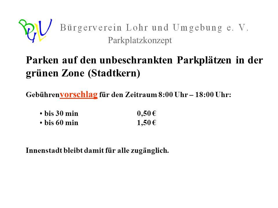Parkplatzkonzept Parken auf den unbeschrankten Parkplätzen in der grünen Zone (Stadtkern) Gebührenvorschlag für den Zeitraum 8:00 Uhr – 18:00 Uhr: