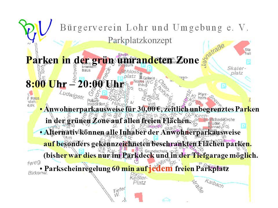 Parken in der grün umrandeten Zone 8:00 Uhr – 20:00 Uhr