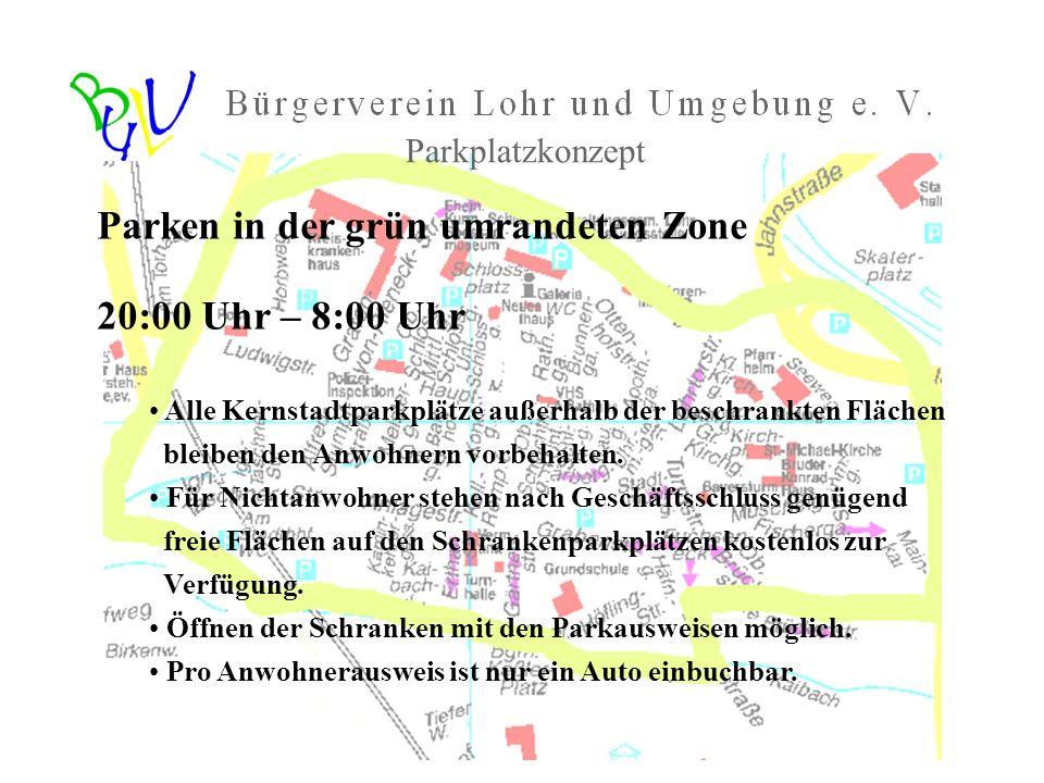 Parken in der grün umrandeten Zone 20:00 Uhr – 8:00 Uhr