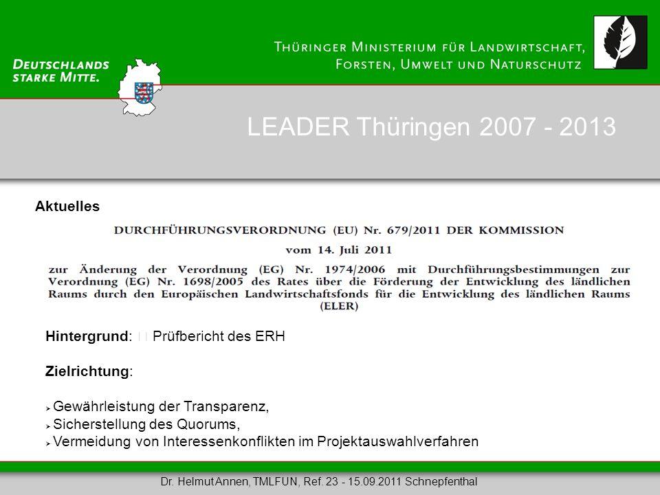 LEADER Thüringen 2007 - 2013 Aktuelles