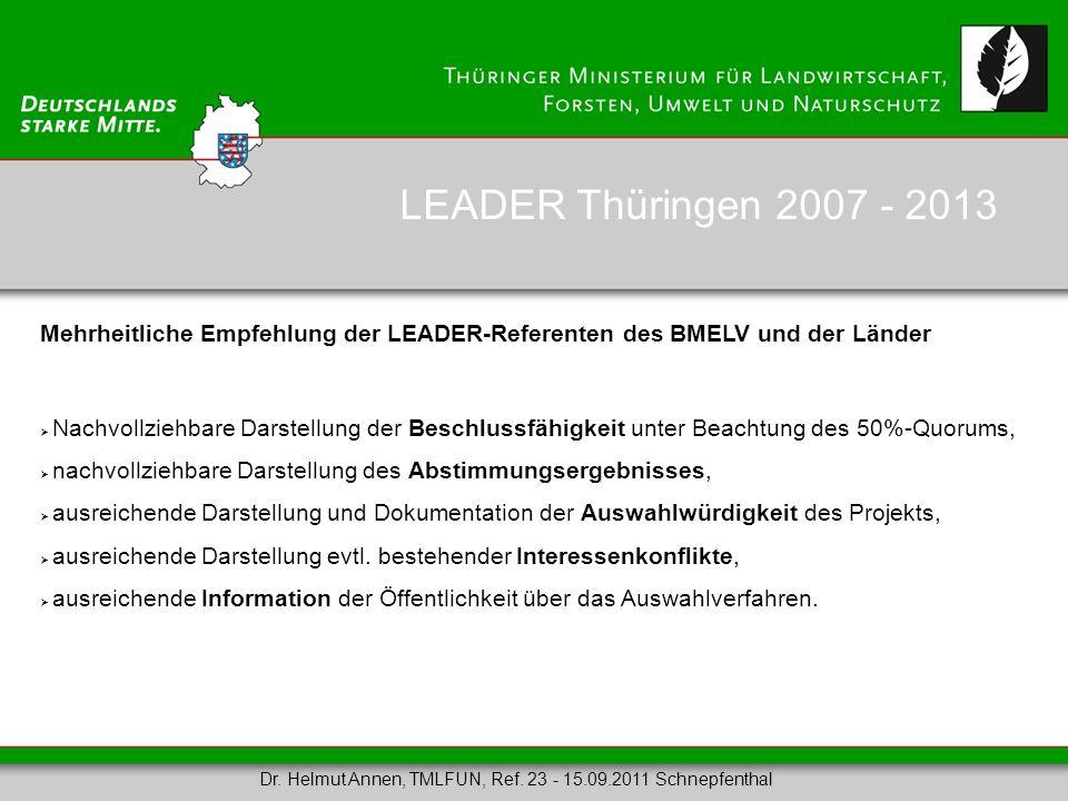 LEADER Thüringen 2007 - 2013 Mehrheitliche Empfehlung der LEADER-Referenten des BMELV und der Länder.