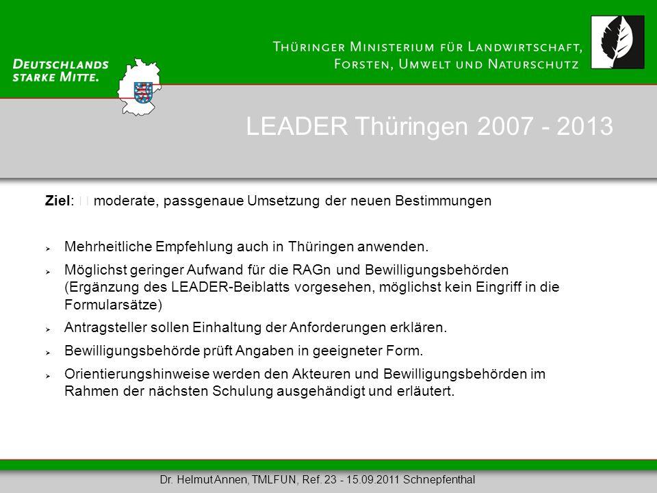 LEADER Thüringen 2007 - 2013 Ziel:  moderate, passgenaue Umsetzung der neuen Bestimmungen. Mehrheitliche Empfehlung auch in Thüringen anwenden.
