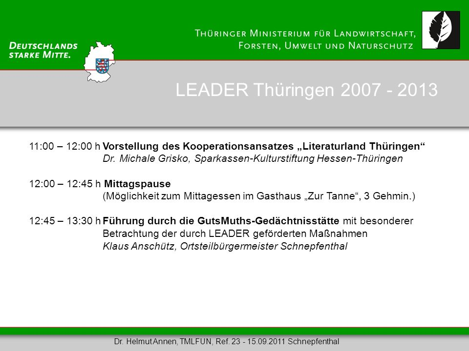 """LEADER Thüringen 2007 - 2013 11:00 – 12:00 h Vorstellung des Kooperationsansatzes """"Literaturland Thüringen"""