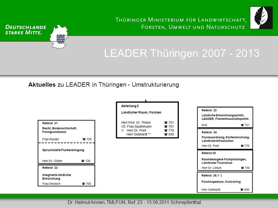 LEADER Thüringen 2007 - 2013 Aktuelles zu LEADER in Thüringen - Umstrukturierung.