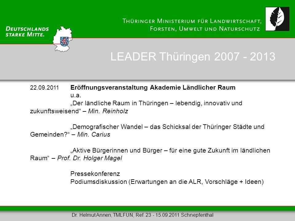 LEADER Thüringen 2007 - 2013 22.09.2011 Eröffnungsveranstaltung Akademie Ländlicher Raum. u.a.
