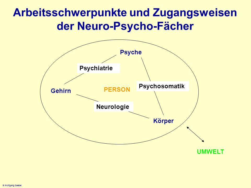 Arbeitsschwerpunkte und Zugangsweisen der Neuro-Psycho-Fächer