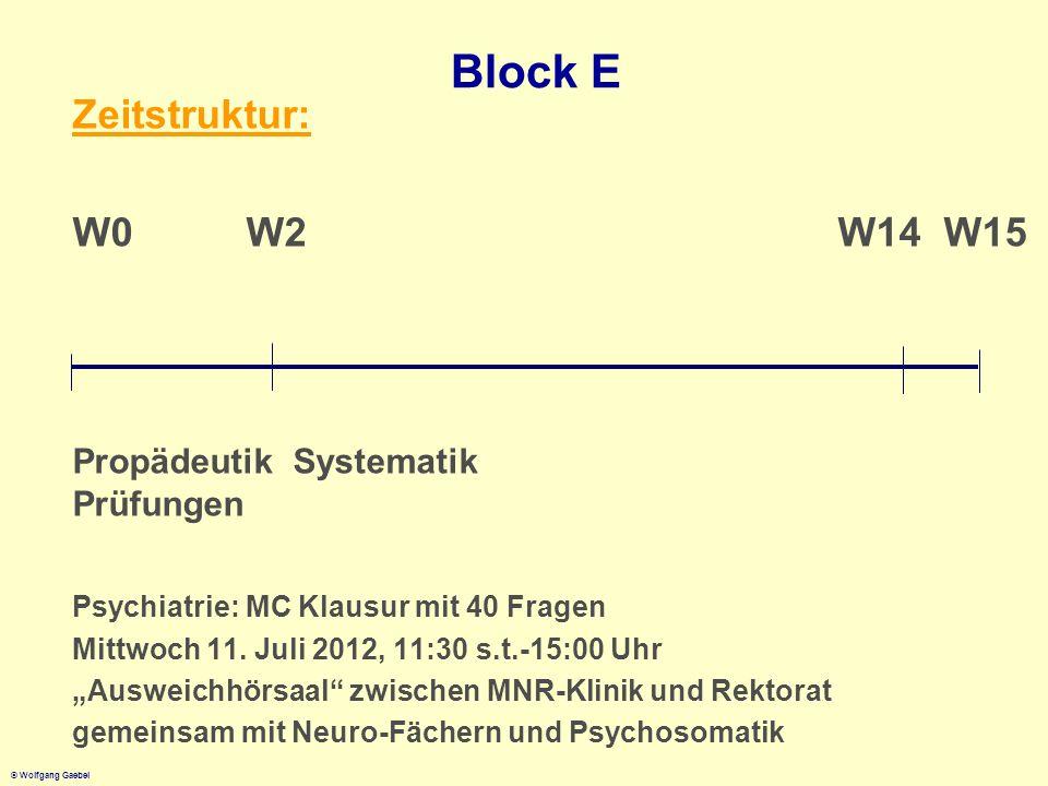 Block E Zeitstruktur: W0 W2 W14 W15 Propädeutik Systematik Prüfungen