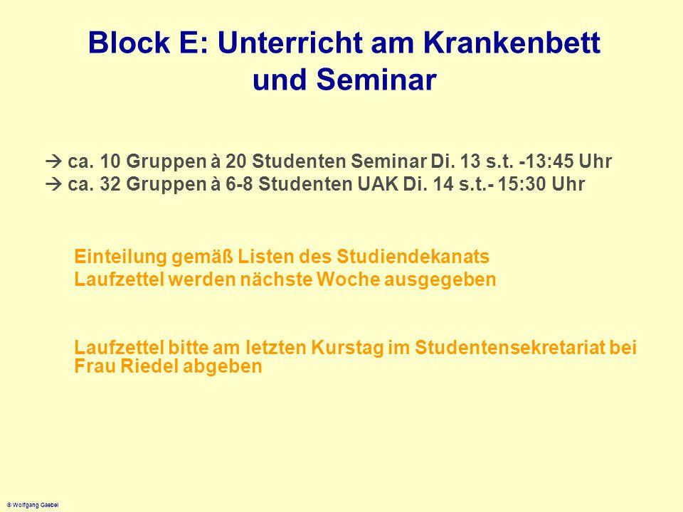 Block E: Unterricht am Krankenbett und Seminar